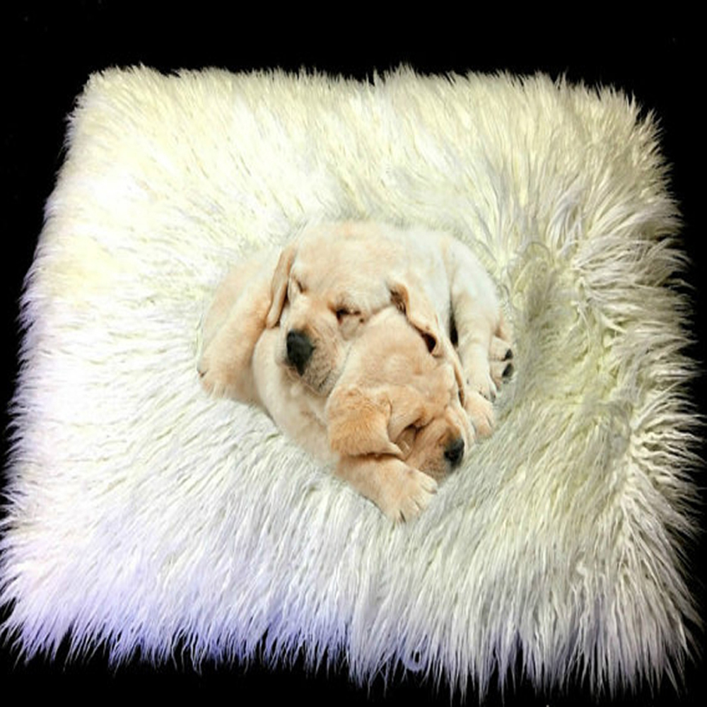 dog pet mat cat mat white faux fur cushion long hair sheepskin rug shabby chic shag - Faux Fur Rugs