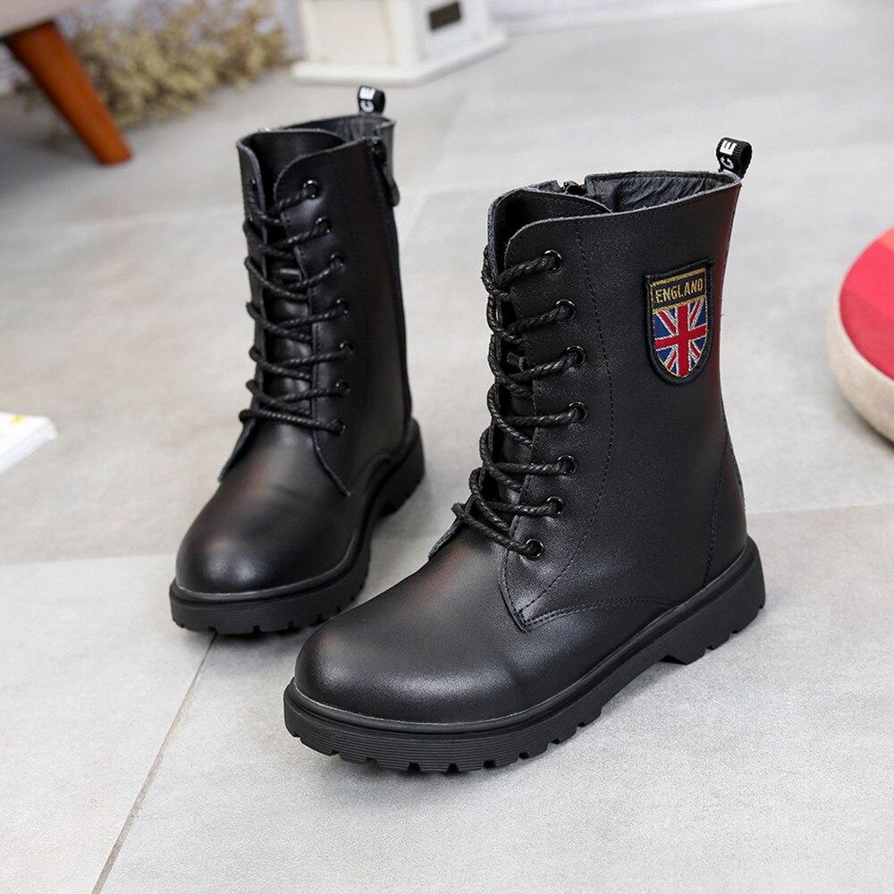 Chaussures pour enfants automne/hiver enfants Martin bottes filles mode bottes en cuir garçons moto bottes chaussures enfant réchauffement chaussures
