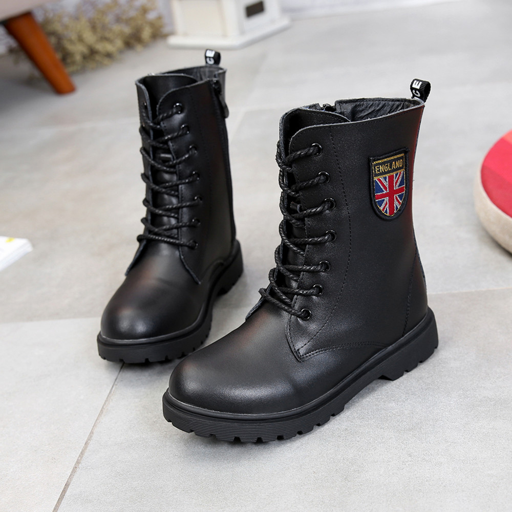 Children'S Shoes Autumn/Winter Kids Martin Boots Girls Fashion Leather Boots Boys Motorcycle Boots Shoes Child Warming Shoes maggie s walker kids boys girls winter boots genuine leather fashion martin boots teenage military ankle boots school shoes