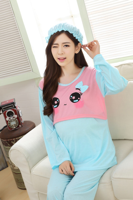 67631bb4598d2 2019 spring and summer plus size maternity pajama set pregnant women  cartoon nursing clothes set breastfeeding shirts with pants