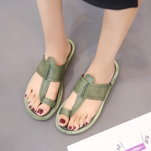 Leather Sandals and Slippers Women 2019 Summer Women's Wear Fashion Women's Handmade Casual Shoes Set Toe Half Slippers Women