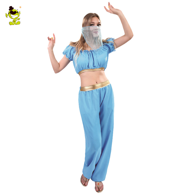 15c60a01c405 € 21.98 10% de DESCUENTO|Disfraz de princesa árabe Sexy para niñas Vintage  árabe Dubai vestido de verano para mujer carnaval Halloween danza del ...