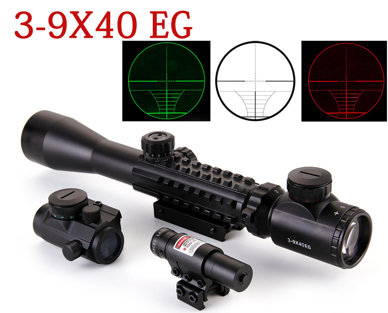 ФОТО 3-9X40EG Sight Scope Red Green Illuminated Tactical Riflescope Mount Fit For 11mm20mm Rail+Red Laser Sight+Holographic Dot Sight