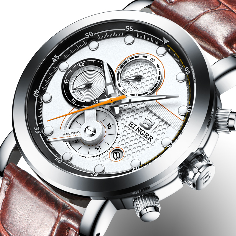 Relogio Masculino BINGER Mens Watches Luxury Brand Chronograph Quartz Watch Men Luminous Men Wrist Watch reloj hombre B-9017M2 charles hubert paris mens quartz watch 3771 b