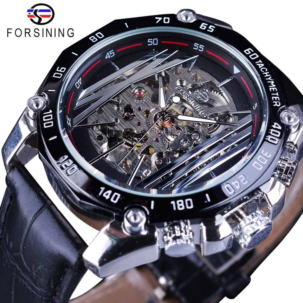 Forsining Mechanical Steampunk Series Men Military Sport Watch Transparent Skeleton Dial Automatic Watch Top Brand Luxury Clock geometry design transparent skeleton dial mens watch top brand luxury automatic fashion mechanical watch clock relojes masculion