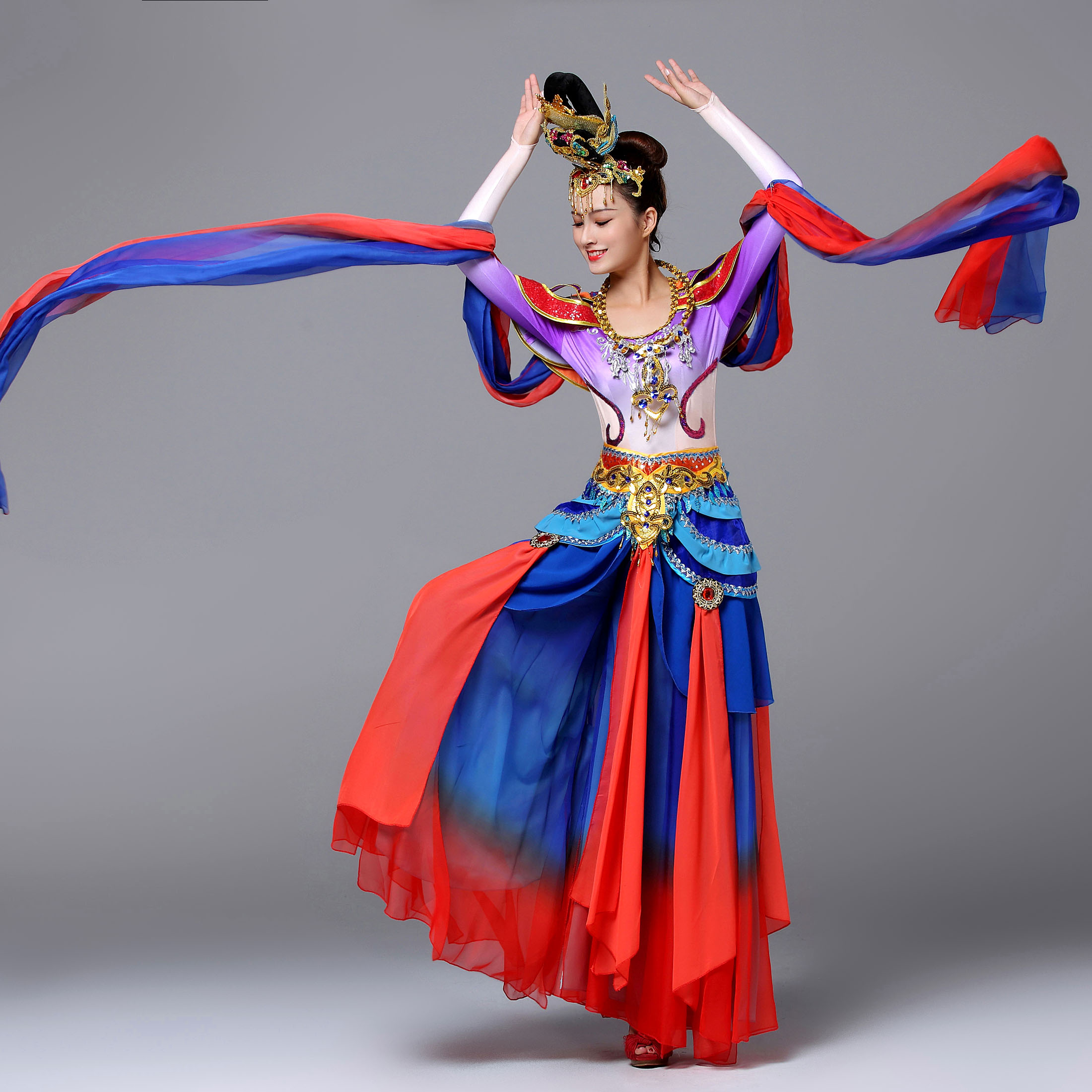 flying silk road dunhuang dance clothing Chinese folk dance costumes performance costume Dunhuang Dance Clothes Feitian Fairy