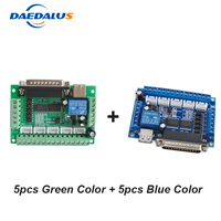 10pcs/lot 5 Axis CNC Controller Interface Adapter Breakout Board Mach3 Controller Board For Stepper Motor Driver With USB Cable