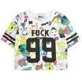 Nuevo estilo del verano 2015 99 caracteres de impresión Harajuku cierre corta mujer camiseta de corea del Hip hop de dibujos animados danza cultivo flojo camisetas