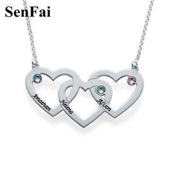 7c28205437f5 Collar con nombre de Senfai, diseño personalizado pensonalizado, collar con  colgante de corazón de plata para mujer, joyería para hombres y niñas
