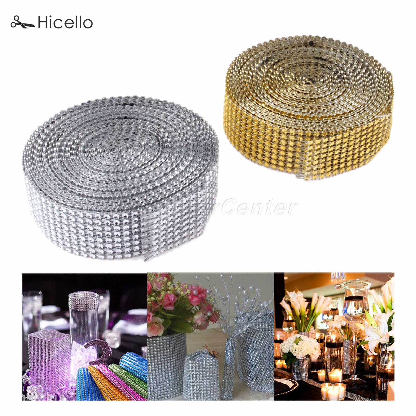 10 Yards Diamond Ribbon Golden Silver Wedding Party Wrap Chair Cover Table Decoration Cr ...