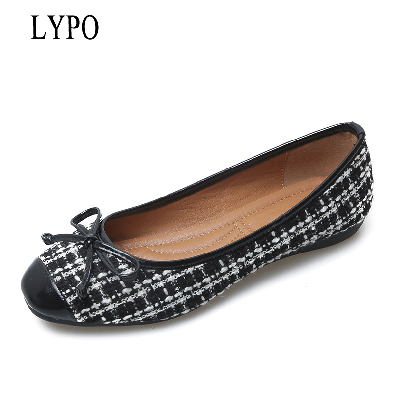 LYPO Fashion Shoes Woman Ballet Flats Plaid Cloth Shoe Bowknot Comfortable Round Toe Casual Shoes Slip On Women's Flat Shoes factory direct sale women cloth shoes new designer shoes bowknot casual shoes work flats