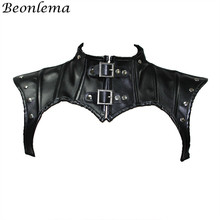 Beonlema Phong Cách Khoa Học Viễn Tưởng Cổ Áo Phụ Kiện Đen Gothic Cao Cấp Định Khăn Choàng Nữ Retro Corselet Gợi Cảm Da Đính Đinh Tán Nịt