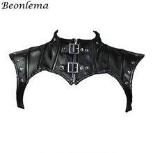 Beonlema Steampunk Neck gorset akcesoria czarny Gothic topy Shapewear szal kobiety Retro gorset Sexy skórzane nity gorsety