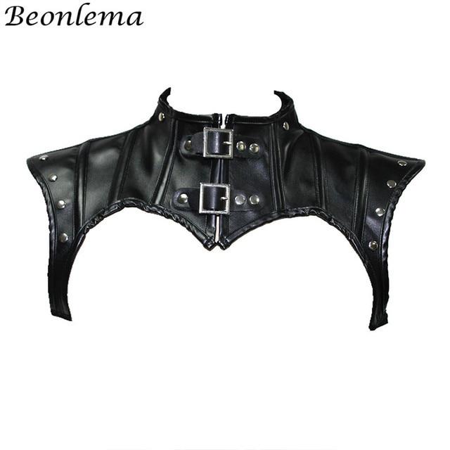Beonlema Steampunk צוואר מחוך אביזרי שחור גותי צמרות Shapewear צעיף נשים רטרו מחוך סקסי עור מסמרות מחוכי