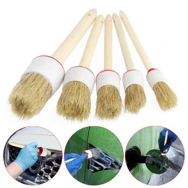 5Pcs Soft Car Brushes for Cleaning Dash Trim Seats Wheels Wood Handle 2017 Car-styling New Auto Brushes Detailing