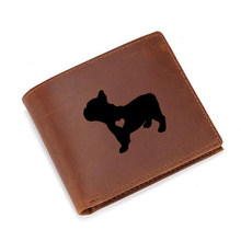 Creative Engraved Picture French Bulldog Wallets Small Purses Men Leather Multi Card Holders RFID Protection Functional Wallets(China)
