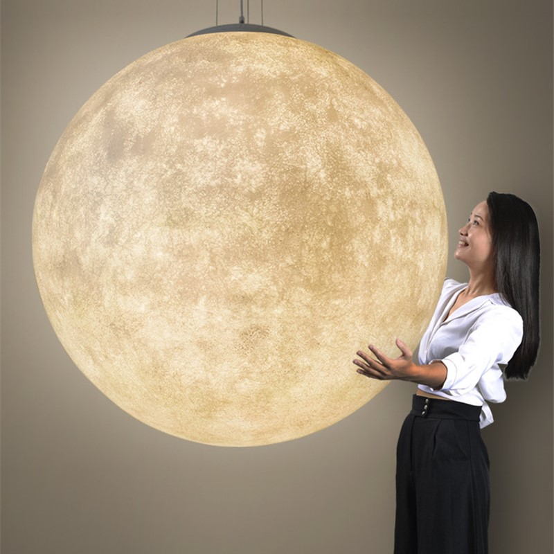 Moon Ball Pendant Lamp Resin Pendant Lights For Bedroom Living Room Dining Room Kids Home Hang Lamp Lustre Suspension Fixtures