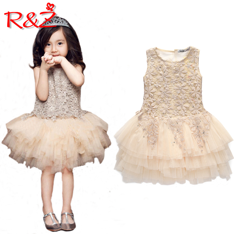e4c9044eb R&Z 2018 Summer New Lace Vest Girl Dress Baby Girl Princess Dress 3-7 Age