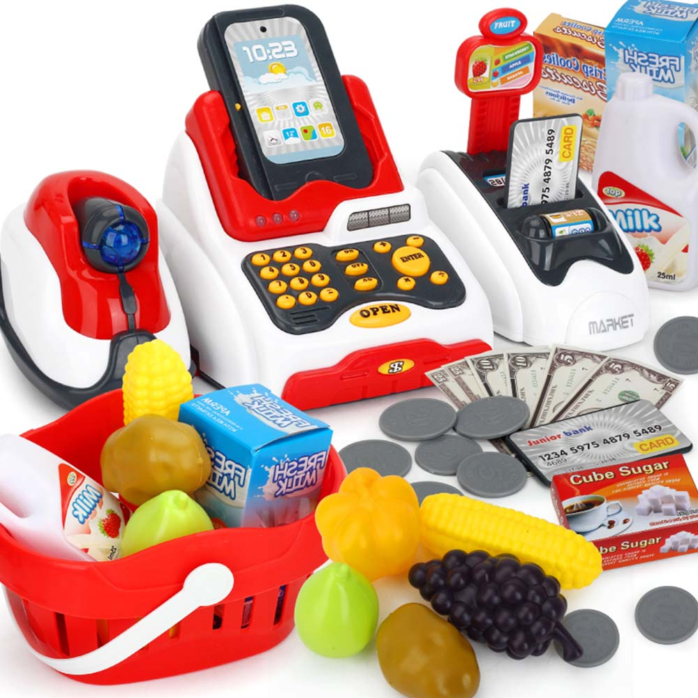 Kids Cash Register Toy Pretend Play Set Food Shopping Educational Toys Baby Simulation Supermarket  Children Classic Toys