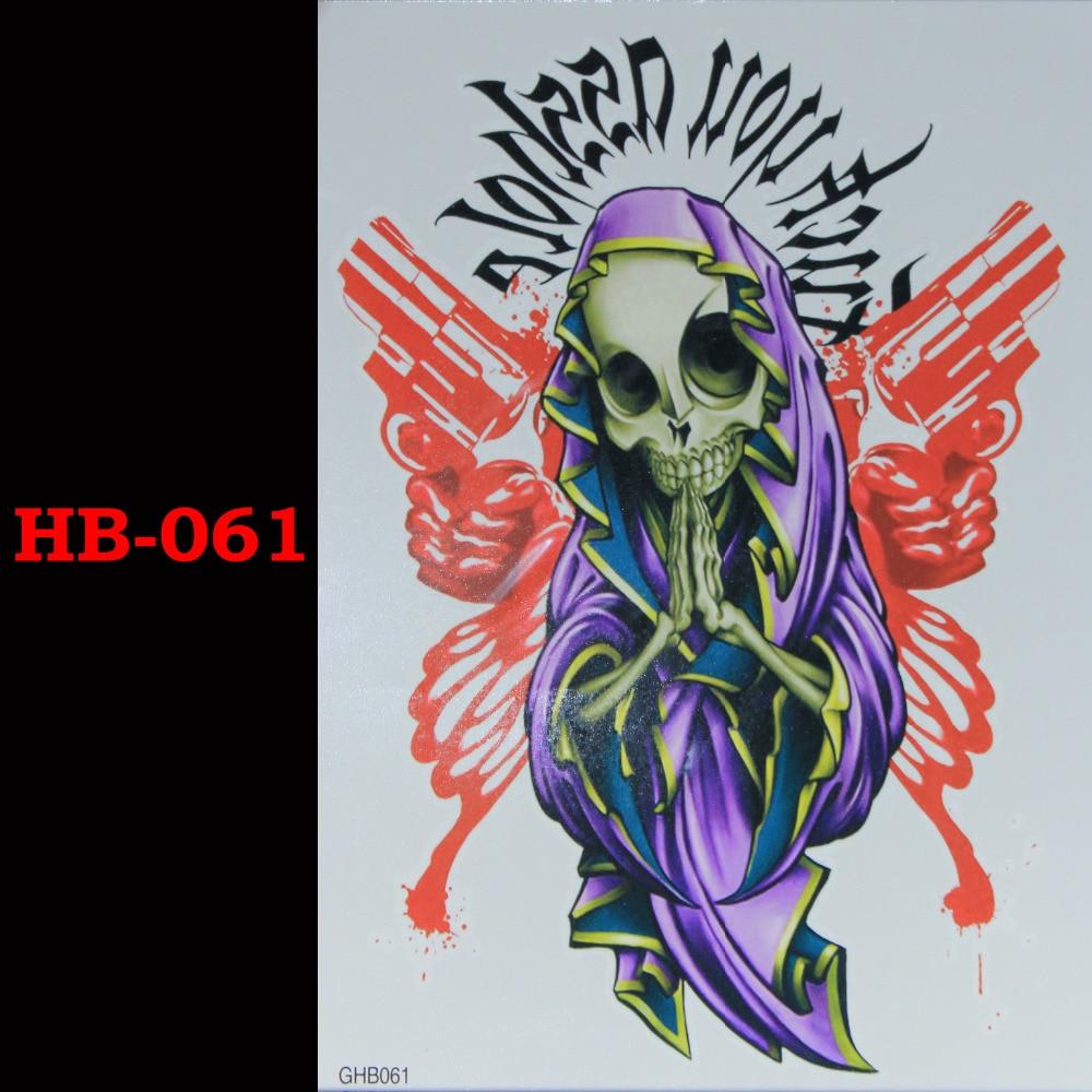 dödens gudskalle pistol Tillfälliga Tatto Vattentäta Män Kvinnor 3D Tattoo Arm Sticker Fake Arm Sleeve Body Tattoo Axel Tatueringar