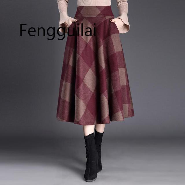 Женская винтажная клетчатая юбка шерстяная средней длины с высокой