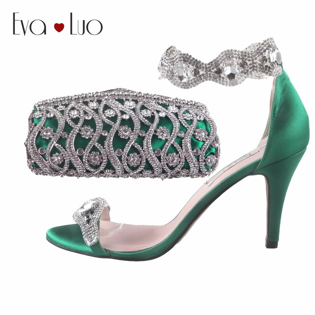 49eb1983542f83 BS666 Custom Made Emerald Green Crystal Women Shoes with Matching Bag set Bridal  Wedding Shoes Sandals High Heels Women Shoes