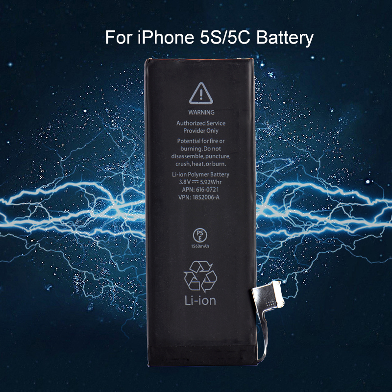 3.8v 1560mAh Li-ion Replacement Internal Battery for iPhone 5S 5C Mobile Phone Built-in Lithium Replace Battery For iPhone 5C/5S