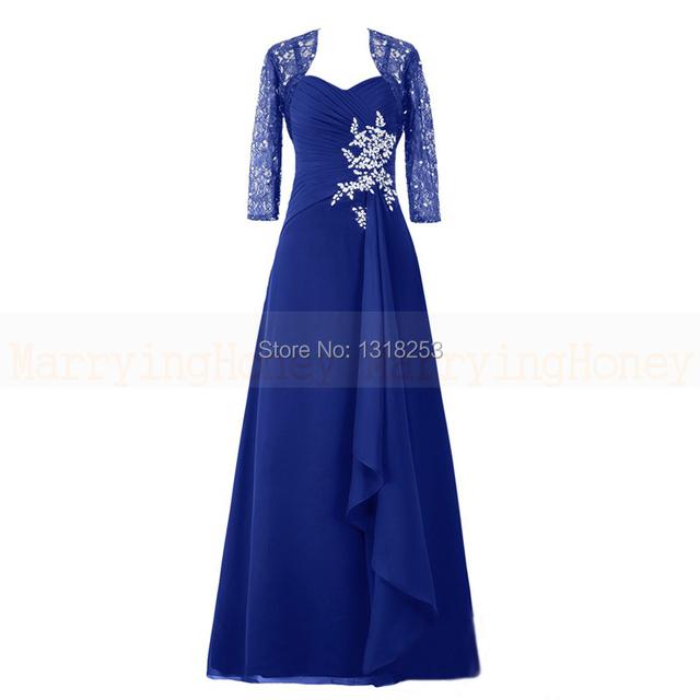 Mãe dos vestidos de noiva com jaqueta de renda 3/4 Mangas senhoras ternos noite formal das mulheres vestido de festa plus size hochzeitskleid