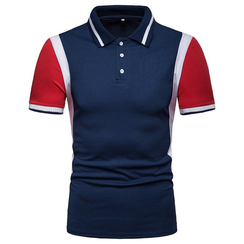 2019 New Summer Polo Shirt Men Casual Patchwork Short Sleeve Polos Slim Fit homme para hombre men polo shirt