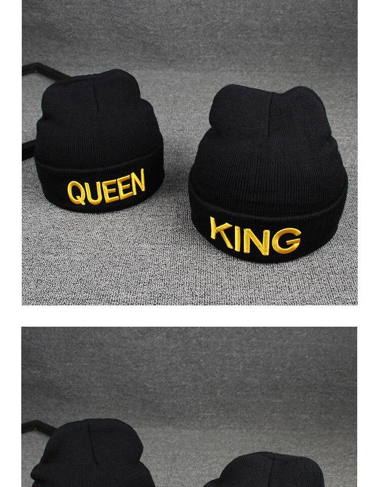 19705959a8b 2017 embroidery King Queen Beanie Winter Hats Cap Men Women Hat Knitted Hip  Hop Hat Couple Warm Winter Cap