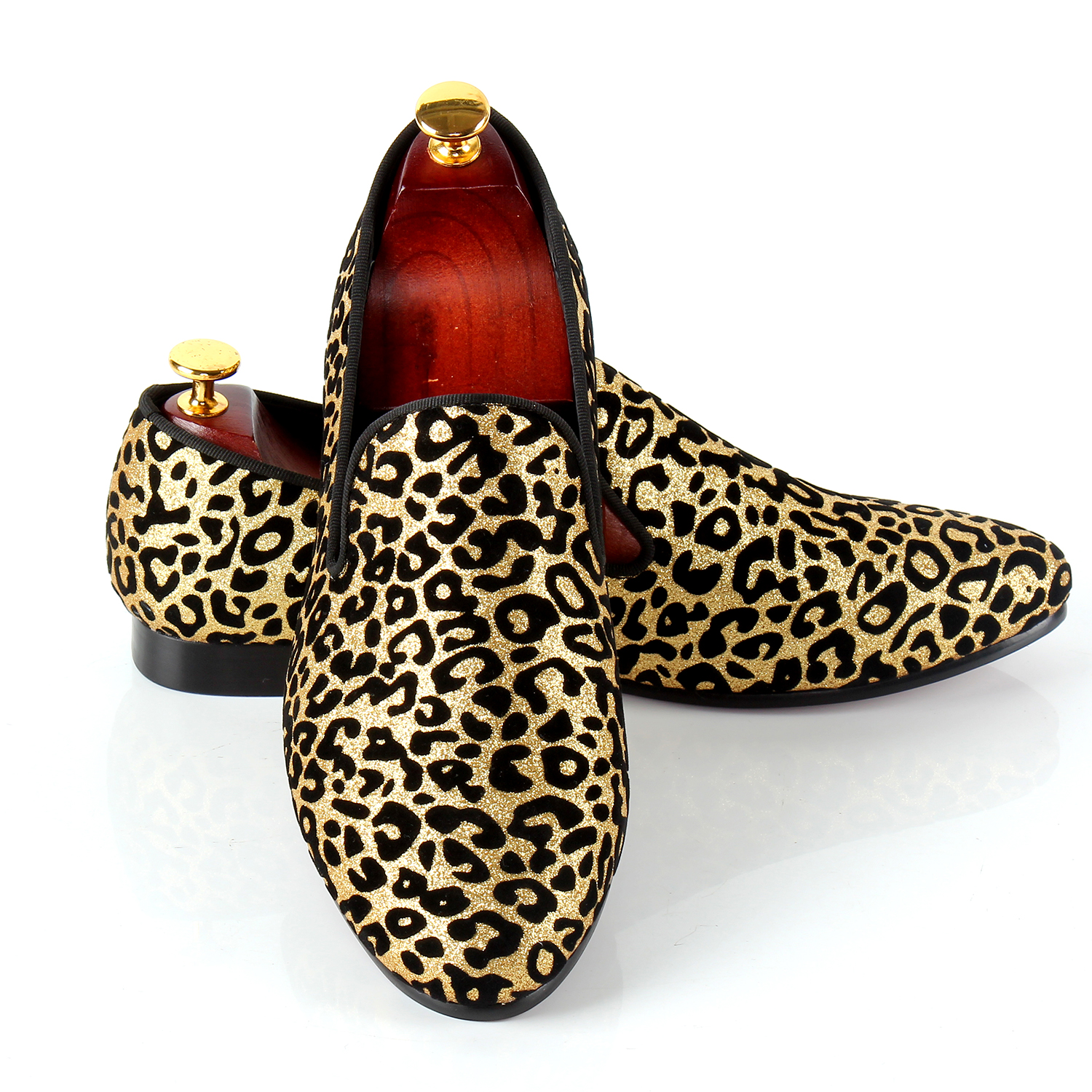Leopard Printed Men Dress Shoes Slip On Wedding Shoes For Events Red Bottom Sole Loafers Free Drop Shipping Big Size Shoes