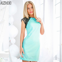 2017 Fashion Lace Patchwork Summer Dress Women O Neck Sleeveless Party Dresses Ukrai Ladies Casual Office