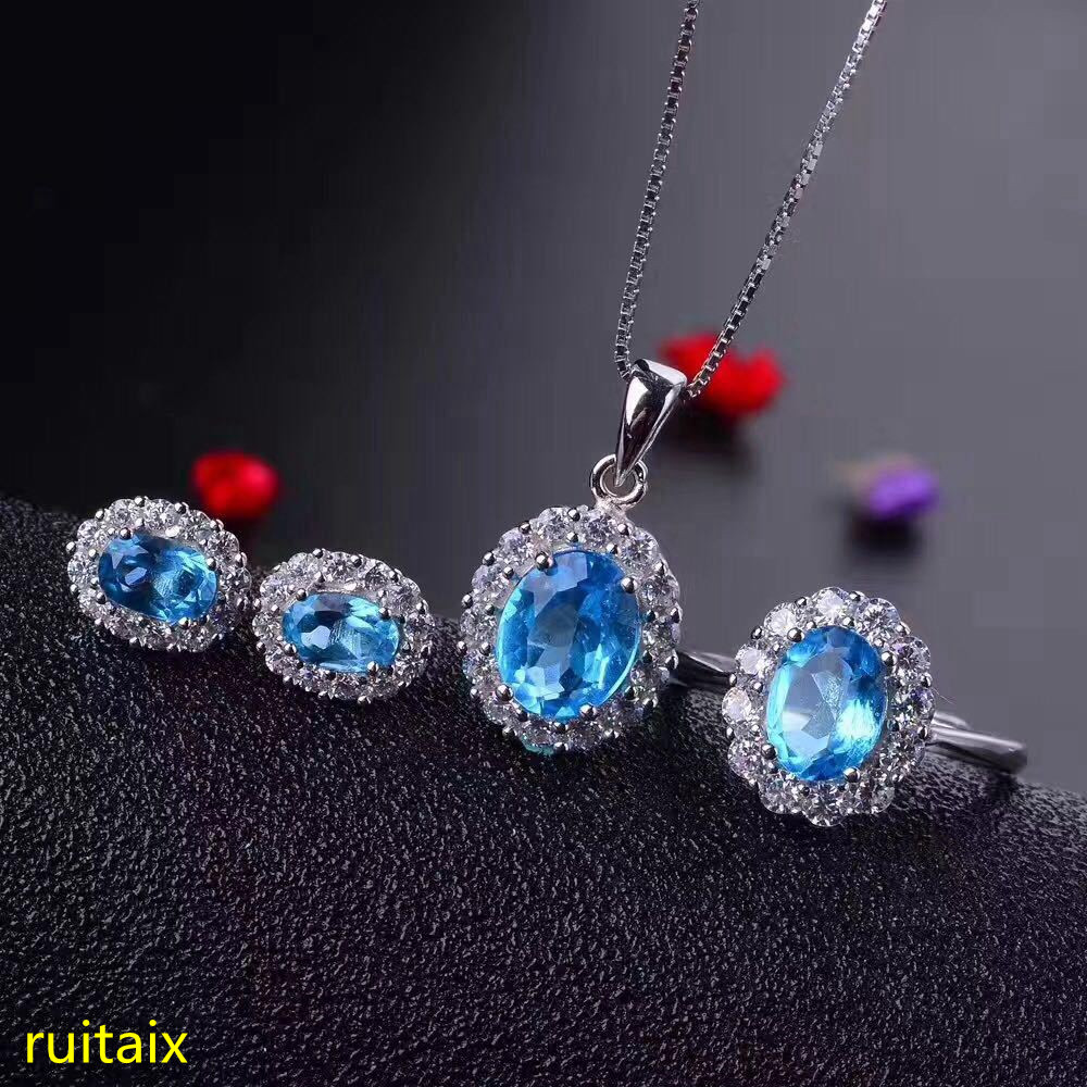 KJJEAXCMY boutique jewels 925 sterling silver inlaid with natural blue topaz jewelry 3 pieces pendant + necklace + earrings + ri цены онлайн