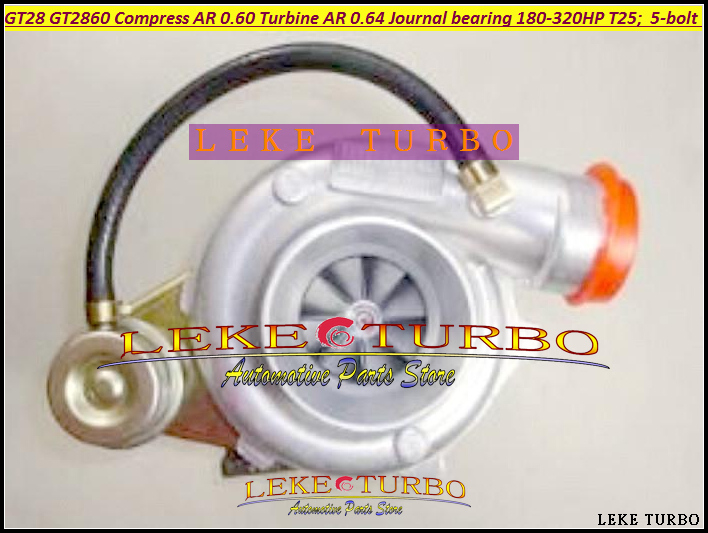 GT28 GT28-5 GT28 GT2860 GT2860-1 Turbo Compressor AR 0.60 Turbine AR 0.64 5-bolt Journal bearing 180-320HP T25 flange Internal free ship gt2860 oil cool turbine compressor ar 0 60 turbo 0 64 turbocharger for nissan s13 s14 s15 ca18det t25 400hp 5 bolt