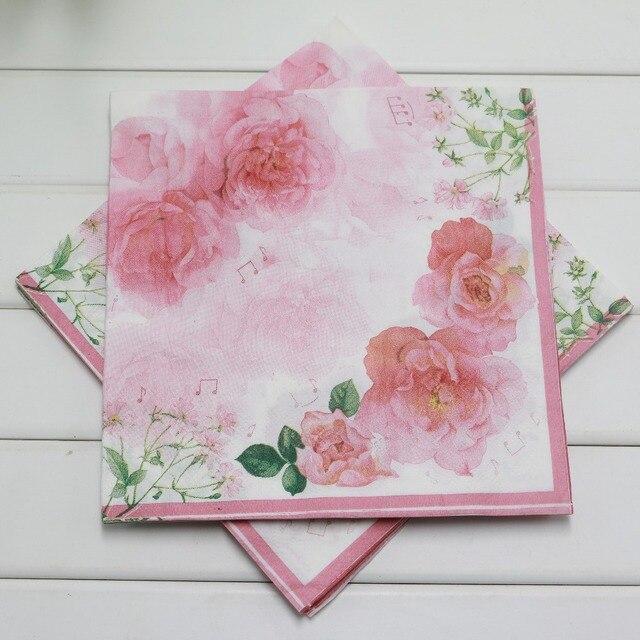 h1512 vintage wedding paper napkins printed floral rose flower decoupage festive party tissue napkins paper 33cm