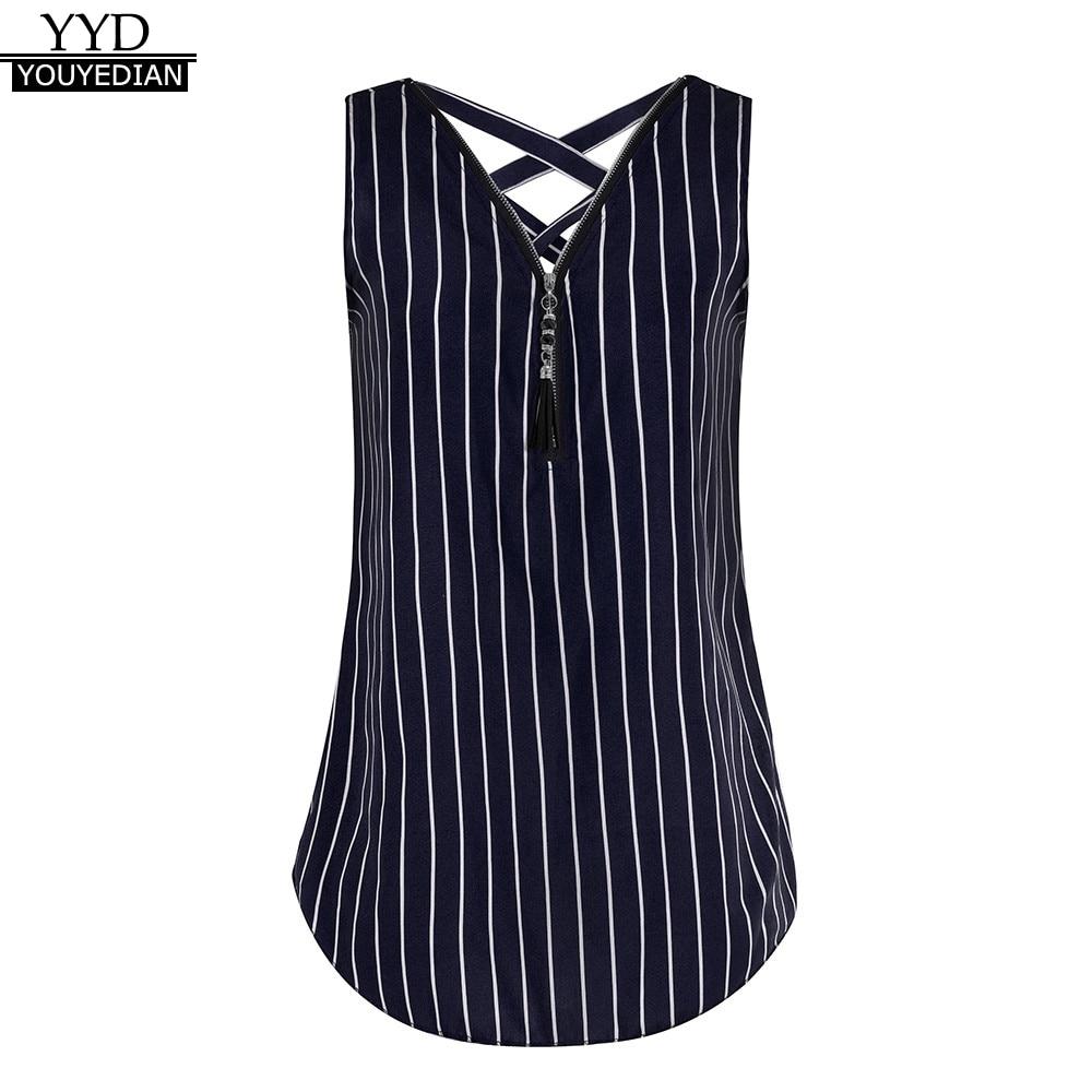 4c3bba3553 Plus Size 5XL Summer Tank Tops For Women 2018 Streetwear Striped Print  Zipper V Neck Sleeveless Top Tunic T Shirt Clothes Women