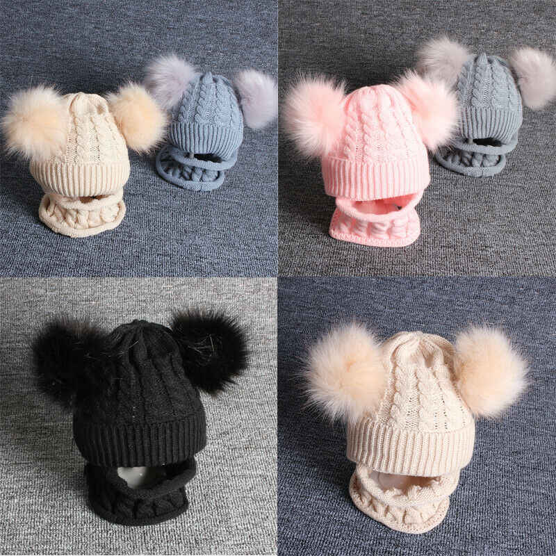 2019 Cute Baby Girl Boy Knitted Bobble Hat Double Pom Pom Winter Warm Crochet Stretchy Hat 2PCS