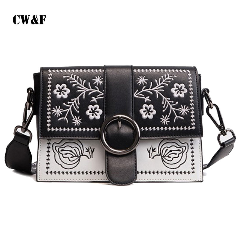 2018 fashion embroidery wide shoulder strap chic small square bag students girls Messenger bag wild tide