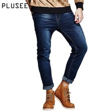Plusee blue denim jeans men casual men's jeans pocket 2017 spring plus size loose straight skinny big size denim jeans men S-6XL