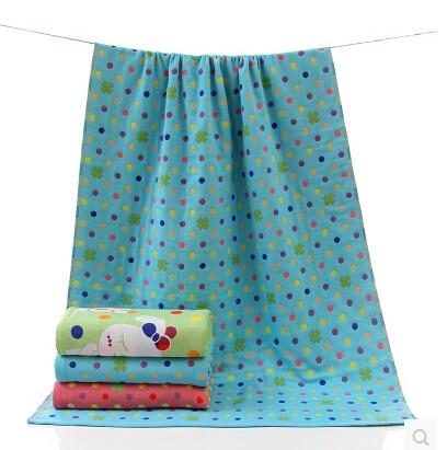 pasayione polka dot cotone telo da bagno blu rosa morbido rapida asciugatura assorbimento bagno texitile lino