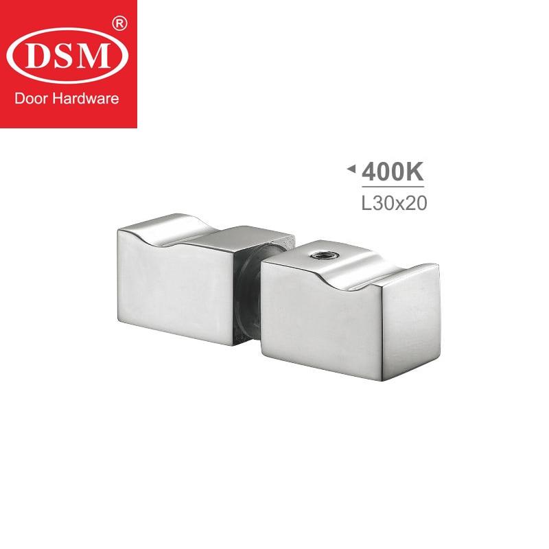 Poignée de porte en verre Double bouton de porte de douche de fixation latérale en cuivre massif chromé pour 6 ~ 12mm épaisseur de verre PA-400K