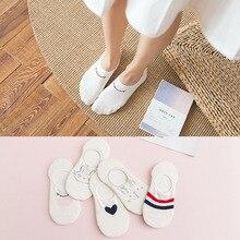 10 шт. = 5 пар, женские носки на весну и лето, Хлопковые женские носки-тапочки с 3-D ушками, милые носки для девочек