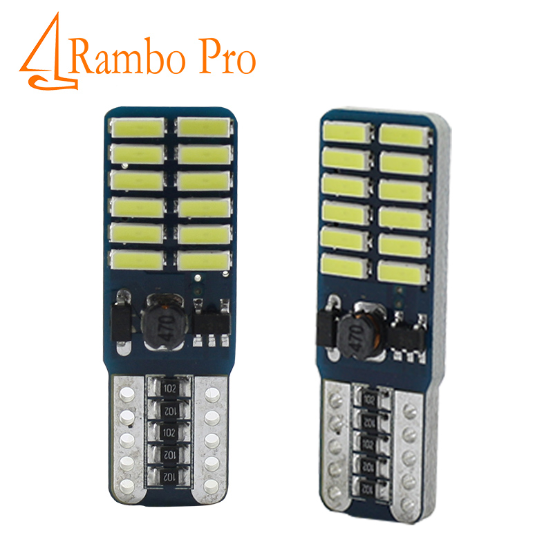 2 pcs Car Auto LED T10 194 W5W Canbus 24 SMD 4014 LED Light Bulb No error led parking Fog light Auto No Error univera car light