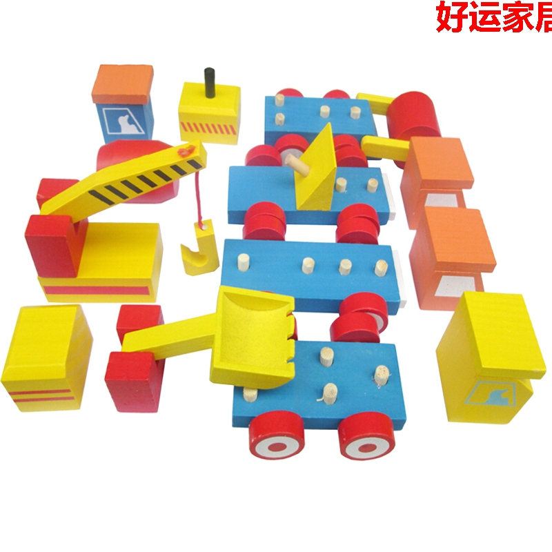 Wooden Block Building Assemble Model Toy Wood Car Engineering Vehicle Mixer Giant Shovel Crane Roller Baby Birthay Gift 4pcsset In Model Building
