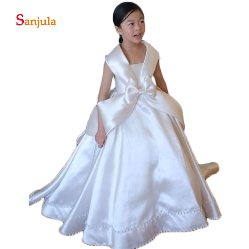 White/ Ivory Satin Ball Gown   Flower     Girls     Dresses   Pearls Skirt Charming   Girls   Pageant Party   Dresses   with Bow Communion D259