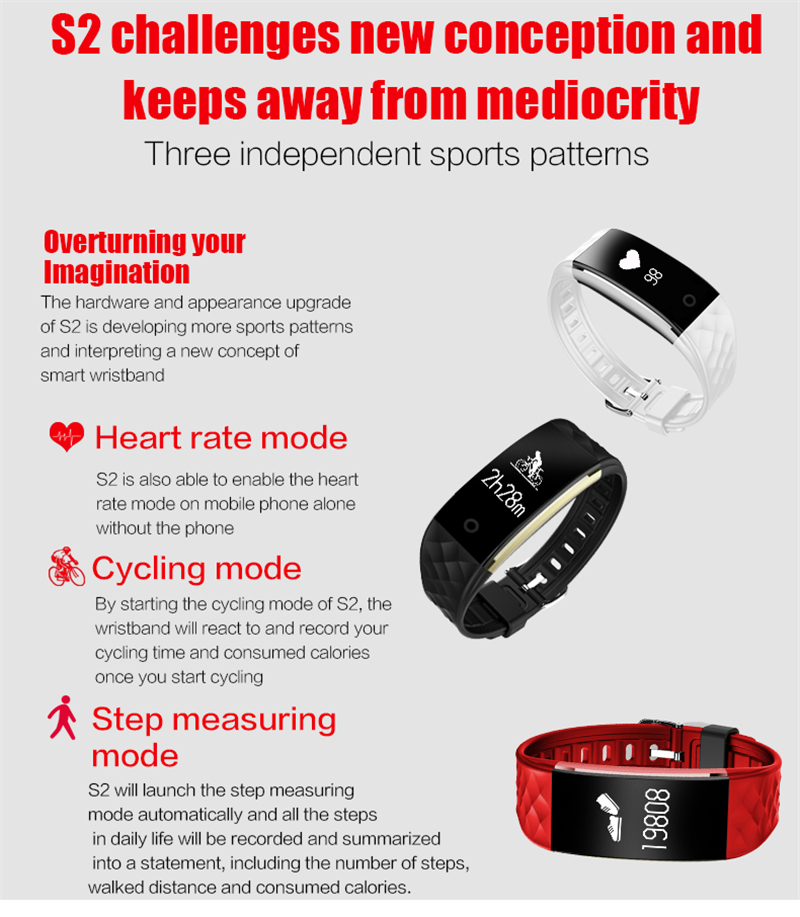 Waterproof Bluetooth Smart Band S2 Smart Wristband Bracelet Heart Rate Pedometer Sleep Fitness Tracker for Android IOS Phones 5
