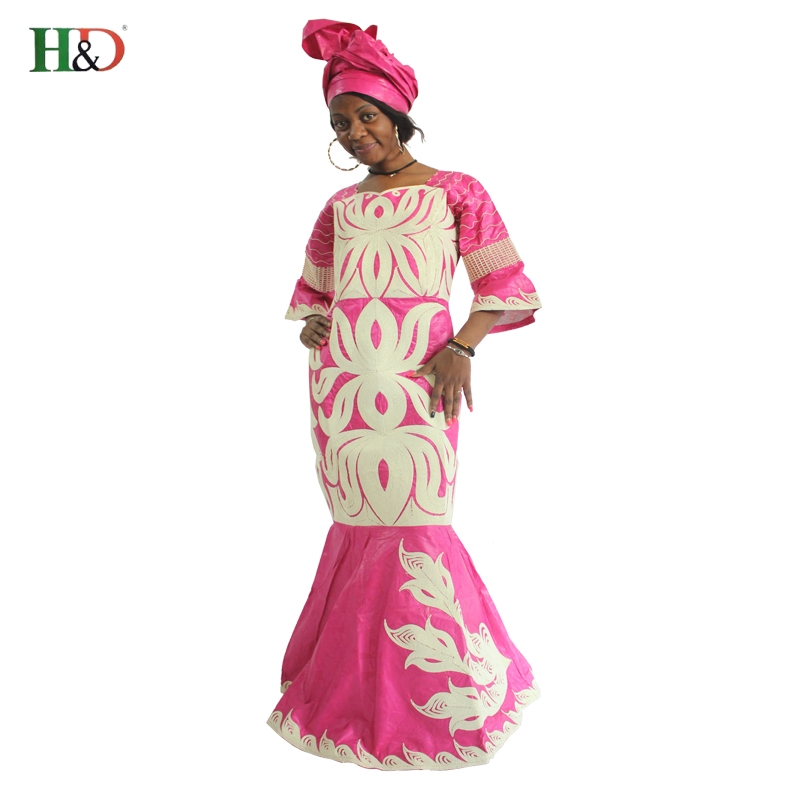 H D Latest African Fashion Designs African Riche Bazin Lady s traditional Dress Long Dashiki Africa
