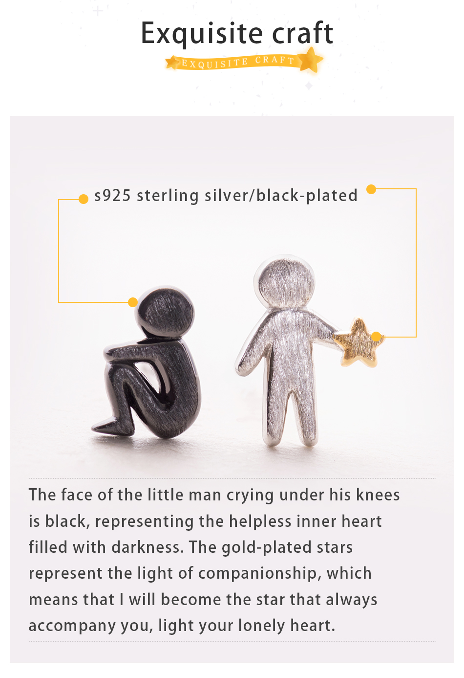 Thaya Picking Gold Stars for You Design Stud Earrings s925 Silver Asymmetry Figure Earring for Women Elegant Texture Jewelry