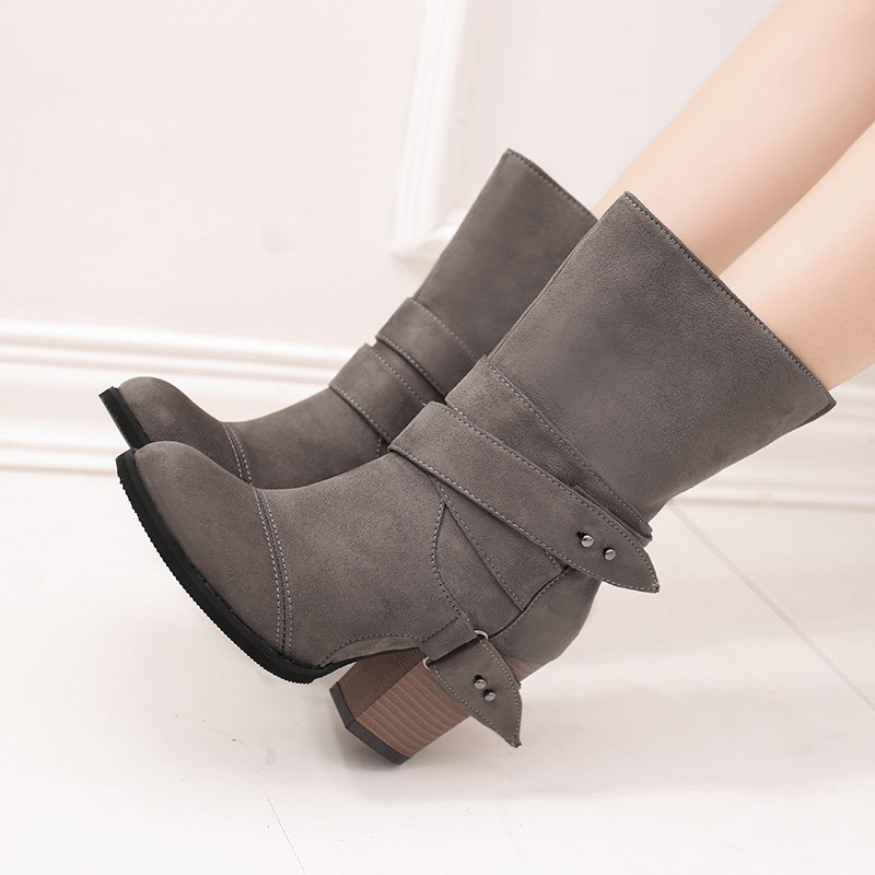 COOTELILI Shoes Woman Ankle-Boots High-Heels Fashion for Ladies Buckle Botas-Mujer