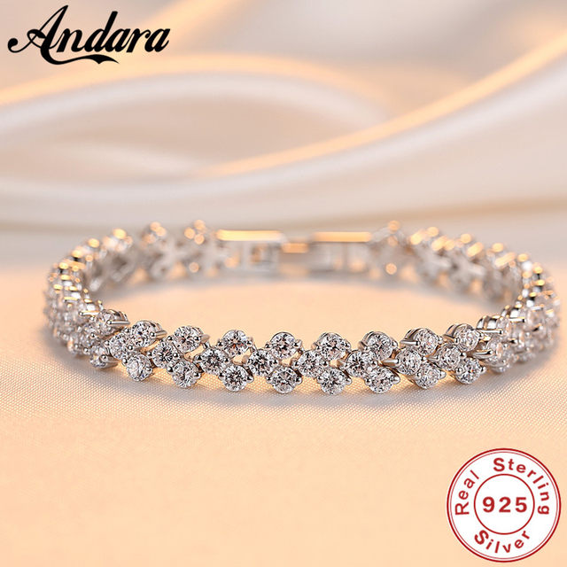 c4bf9de0f18 Crystals Bracelets Women's Fashion Bracelet Austrian Rhinestones Paved 100% 925  Sterling Sliver Bracelets For Girlfriend